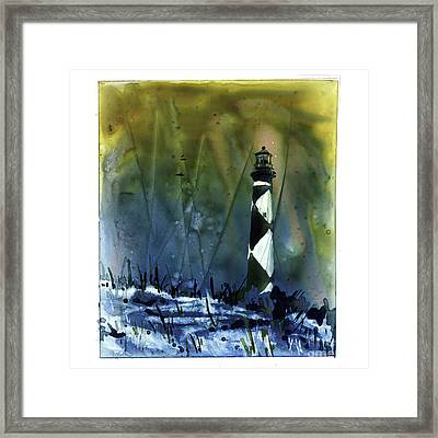 Framed Print featuring the mixed media Cape Lookout Lighthouse by Ryan Fox