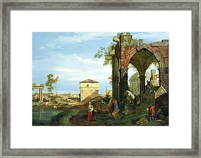 Capriccio With Motifs From Padua Framed Print by Canaletto