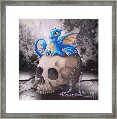Captive Dragon On An Old Skull Framed Print