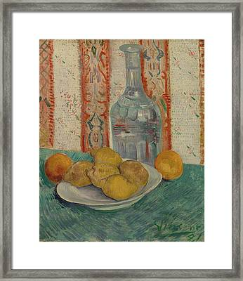 Carafe And Dish With Citrus Fruit Framed Print