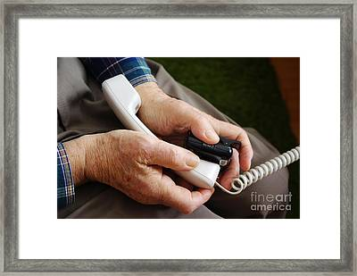 Cardiac Event Recorder Transmitting Data Framed Print by Scimat