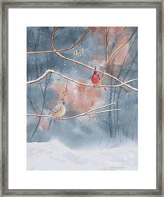 Cardinals In Winter Framed Print by Kathryn Duncan