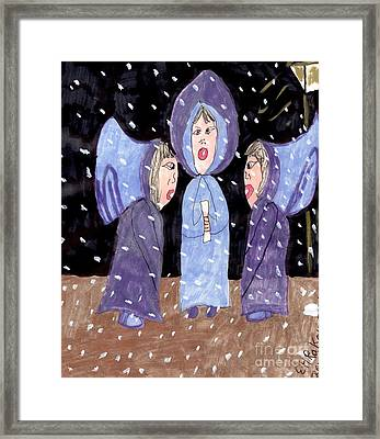 Carolers On A Snowy Night Framed Print by Elinor Rakowski