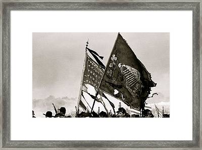 Carrying Their Colors - Bw Framed Print by Linda Allasia