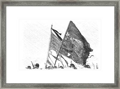 Carrying Their Colors - Sketch Framed Print by Linda Allasia