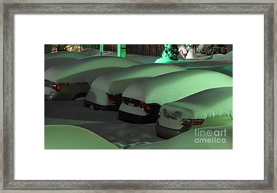 Cars Covered In Snow Framed Print