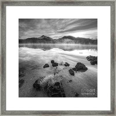 Cascades In Black And White Framed Print