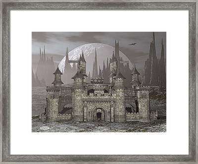 Castle By Night - 3d Render Framed Print by Elenarts - Elena Duvernay Digital Art