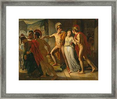 Castor And Pollux Rescuing Helen Framed Print by Jean-Bruno Gassies