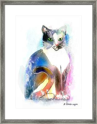 Cat Of Many Colors Framed Print by Arline Wagner