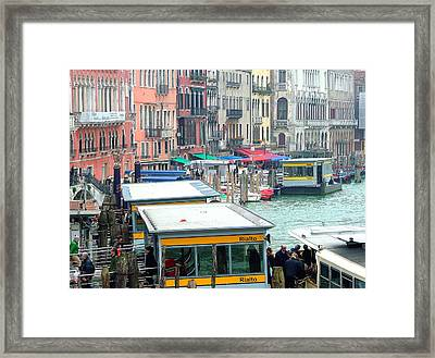 Catching The Ferry In Venice Framed Print by Mindy Newman