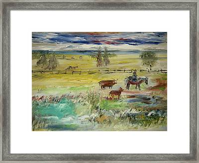 Cattle Drive Framed Print by Edward Wolverton