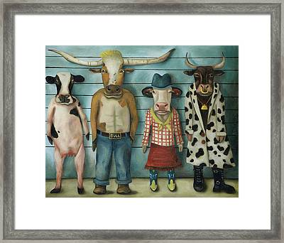 Cattle Line Up Framed Print by Leah Saulnier The Painting Maniac