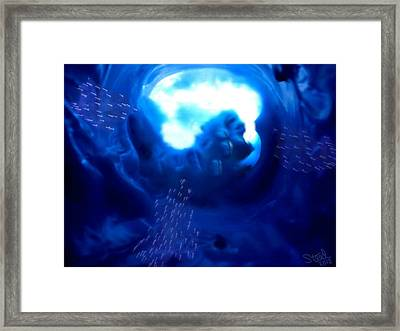 Framed Print featuring the mixed media Cave Dive by Steed Edwards