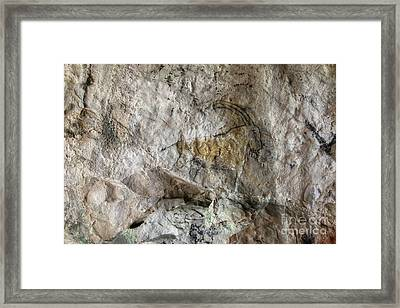 Cave Painting In Prehistoric Style Framed Print by Michal Boubin