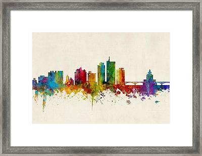 Cedar Rapids Iowa Skyline Framed Print