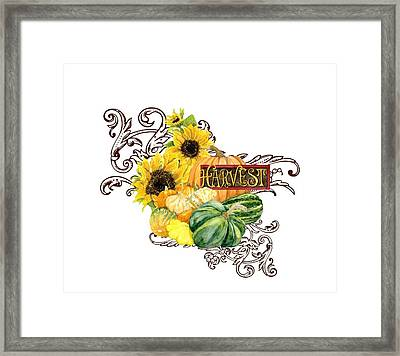 Celebrate Abundance - Harvest Fall Pumpkins Squash N Sunflowers Framed Print