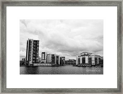 celestia and adventurers quay luxury apartment buildings on roath basin on overcast day Cardiff bay  Framed Print