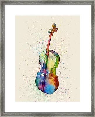 Cello Abstract Watercolor Framed Print by Michael Tompsett