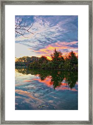 Framed Print featuring the photograph Centennial Lake At Sunrise by Mark Dodd