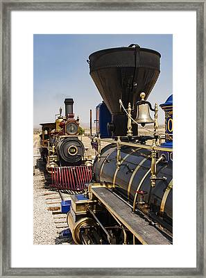 Central Pacific And Union Pacific Locomotives At Promontory, Uta Framed Print