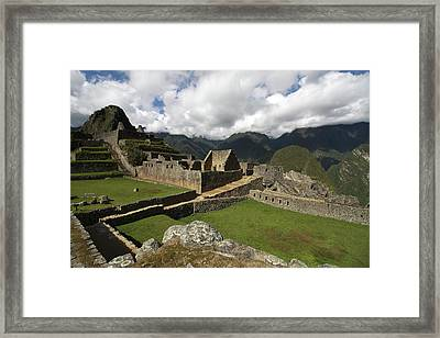 Central Plaza At Machu Picchu Framed Print by Aidan Moran