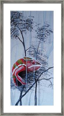 Chameleon In The Rain Framed Print
