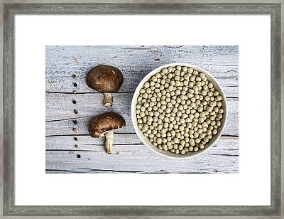 Champignons, Peas And Pepper Framed Print