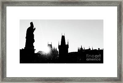 Charles Bridge At Sunrise, Prague, Czech Republic. Statues And Towers Silhouettes Framed Print by Michal Bednarek