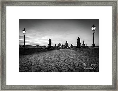 Charles Bridge At Sunrise, Prague, Czech Republic. Statues, Medieval Towers In Black And White Framed Print
