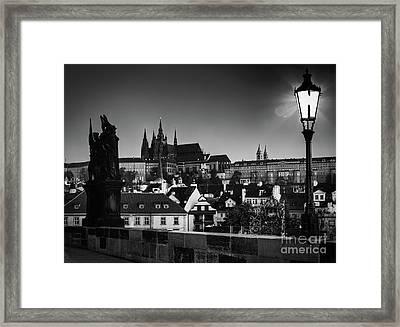Charles Bridge At Sunrise, Prague, Czech Republic. View On Prague Castle With St. Vitus Cathedral. Framed Print by Michal Bednarek