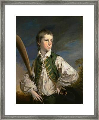 Charles Collyer As A Boy, With A Cricket Bat Framed Print