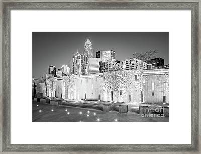 Charlotte At Night Black And White Photo Framed Print by Paul Velgos
