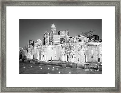 Charlotte At Night Black And White Photo Framed Print