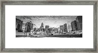 Charlotte Skyline Black And White Panorama Photo Framed Print