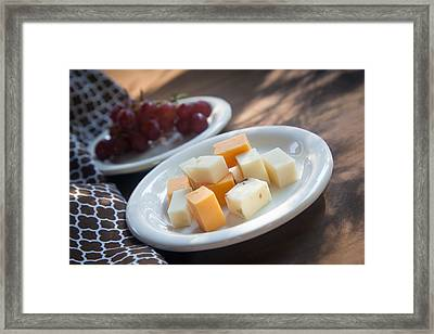 Cheese Plate With Red Seedless Grapes Framed Print by Erin Cadigan