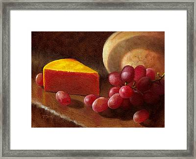 Cheese Wedge And Grapes Framed Print