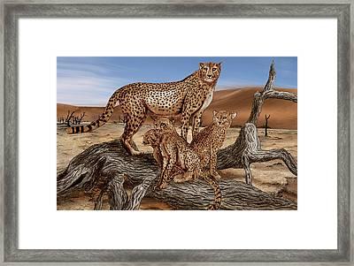 Cheetah Family Tree Framed Print by Peter Piatt