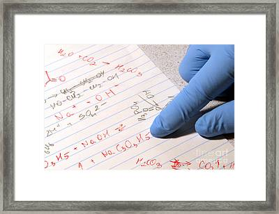 Chemistry Formulas In Science Research Lab Framed Print by Olivier Le Queinec