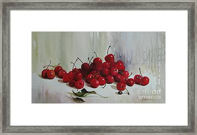 Framed Print featuring the painting Cherries by Elena Oleniuc