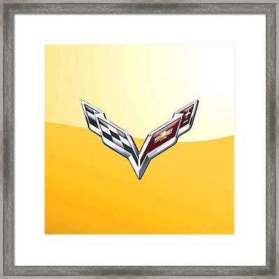 Chevrolet Corvette 3d Badge On Yellow Framed Print