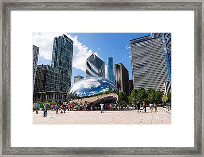 Chicago Bean Cloud Gate With People Framed Print