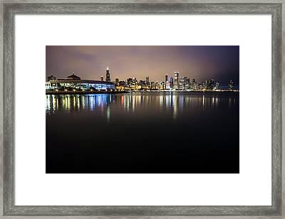 Chicago Night Skyline  Framed Print by Sven Brogren