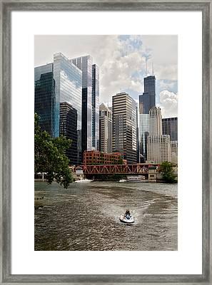 Chicago River Jet Ski Framed Print