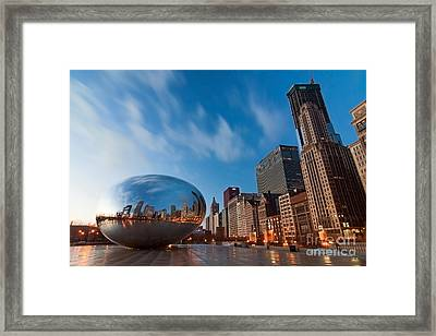 Chicago Skyline And Bean At Sunrise Framed Print