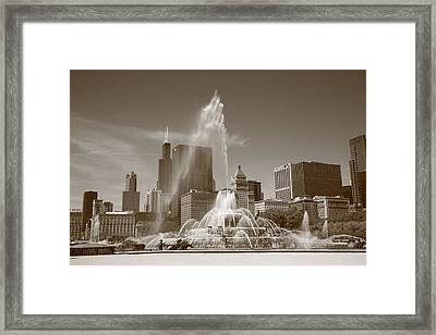 Chicago Skyline And Buckingham Fountain Framed Print by Frank Romeo