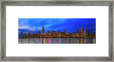 Chicago Skyline Night, Lake Michigan, Chicago, Cook County, Illinois, Usa Framed Print