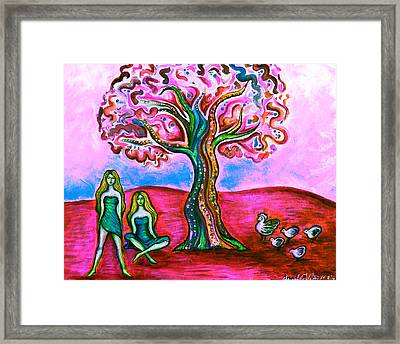 Chica's Y Pollos-blush Framed Print by Brenda Higginson