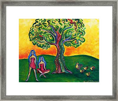 Chicas Y Pollos Framed Print by Brenda Higginson