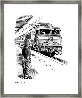 Child Train Safety, Artwork Framed Print by Bill Sanderson